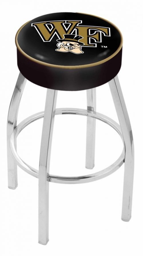 """Wake Forest Demon Deacons (L8C1) 30"""" Tall Logo Bar Stool by Holland Bar Stool Company (with Single Ring Swivel Chrome Solid Welded Base)"""
