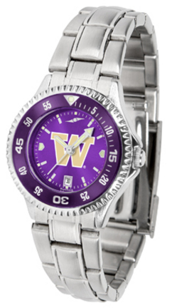 Washington Huskies Competitor AnoChrome Ladies Watch with Steel Band and Colored Bezel