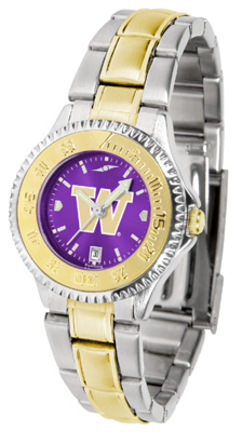 Washington Huskies Competitor AnoChrome Ladies Watch with Two-Tone Band
