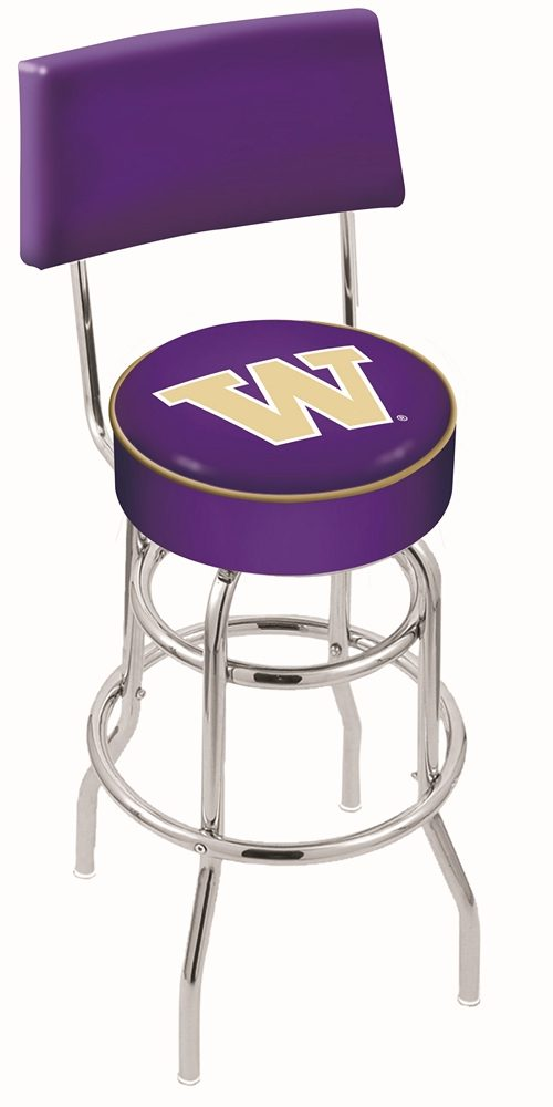 """Washington Huskies (L7C4) 25"""" Tall Logo Bar Stool by Holland Bar Stool Company (with Double Ring Swivel Chrome Base and Chair Seat Back)"""
