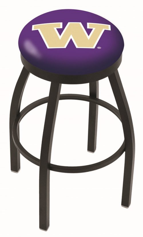 "Washington Huskies (L8B2B) 25"" Tall Logo Bar Stool by Holland Bar Stool Company (with Single Ring Swivel Black Solid Welded Base)"