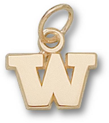 """Washington Huskies """"W"""" 1/4"""" Charm - 14KT Gold Jewelry"""