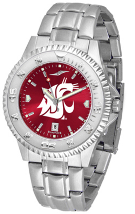 Washington State Cougars Competitor AnoChrome Men's Watch with Steel Band