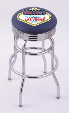 """Welcome to Las Vegas"""" (L7C3C) 30"""" Tall Logo Bar Stool by Holland Bar Stool Company (with Double Ring Swivel Chrome Base)"""