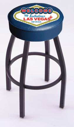 """Welcome to Las Vegas"""" (L8B1) 25"""" Tall Logo Bar Stool by Holland Bar Stool Company (with Single Ring Swivel Black Solid Welded Base)"""