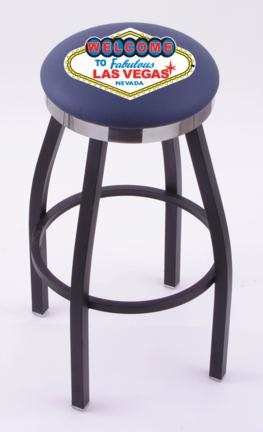 """Welcome to Las Vegas"""" (L8B2C) 25"""" Tall Logo Bar Stool by Holland Bar Stool Company (with Single Ring Swivel Black Solid Welded Base)"""