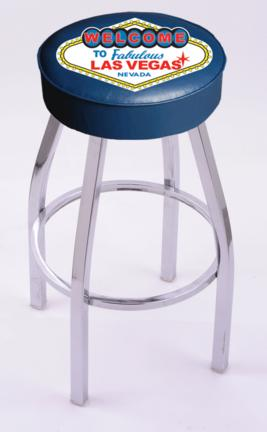 """Welcome to Las Vegas"""" (L8C1) 25"""" Tall Logo Bar Stool by Holland Bar Stool Company (with Single Ring Swivel Chrome Solid Welded Base)"""