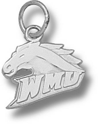 "Western Kentucky Hilltoppers 3/8"" ""WMU Bronco Head"" Charm - 10KT White Gold Jewelry"