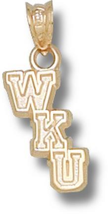 "Western Kentucky Hilltoppers Cascading ""WKU"" 1/2"" Pendant - 14KT Gold Jewelry"