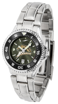 Western Michigan Broncos Competitor AnoChrome Ladies Watch with Steel Band and Colored Bezel