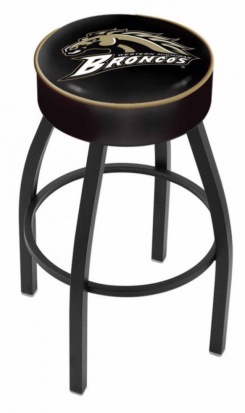 "Western Michigan Broncos (L8B1) 30"" Tall Logo Bar Stool by Holland Bar Stool Company (with Single Ring Swivel Black Solid Welded Base)"