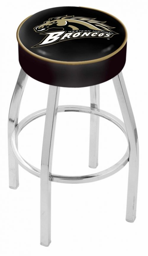 """Western Michigan Broncos (L8C1) 25"""" Tall Logo Bar Stool by Holland Bar Stool Company (with Single Ring Swivel Chrome Solid Welded Base)"""