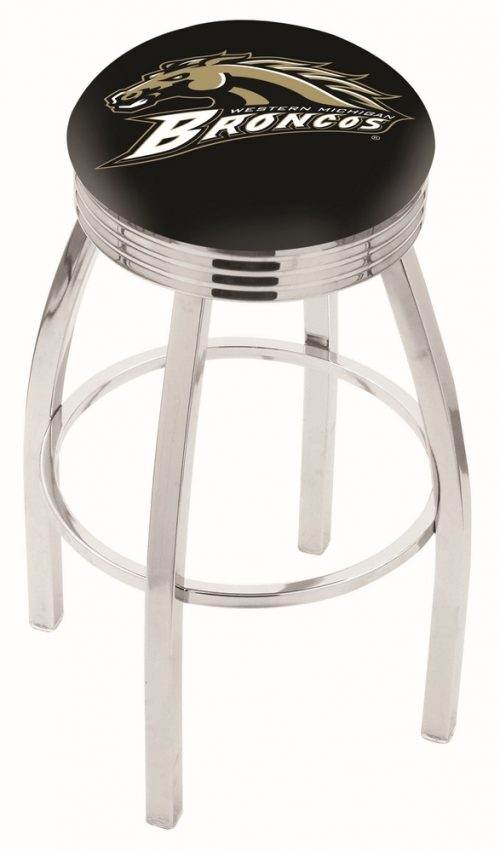 """Western Michigan Broncos (L8C3C) 25"""" Tall Logo Bar Stool by Holland Bar Stool Company (with Single Ring Swivel Chrome Solid Welded Base)"""