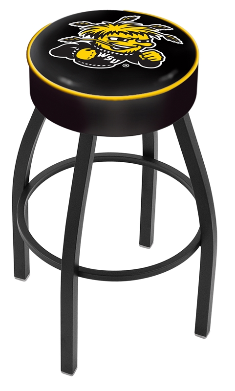 """Wichita State Shockers (L8B1) 25"""" Tall Logo Bar Stool by Holland Bar Stool Company (with Single Ring Swivel Black Solid Welded Base)"""