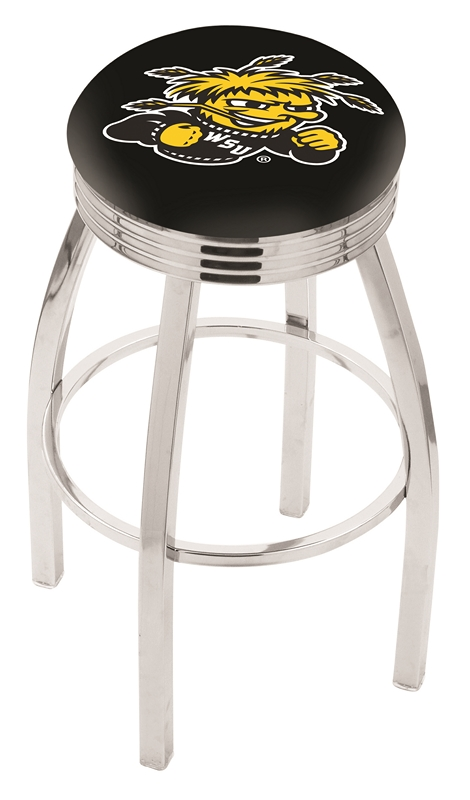 """Wichita State Shockers (L8C3C) 30"""" Tall Logo Bar Stool by Holland Bar Stool Company (with Single Ring Swivel Chrome Solid Welded Base)"""