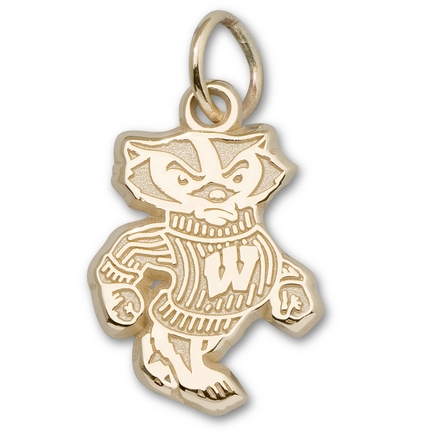 """Wisconsin Badgers 1/2"""" """"Bucky Badger"""" Charm - 10KT Gold Jewelry"""