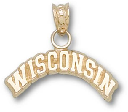 """Wisconsin Badgers Arched """"Wisconsin"""" Pendant - 14KT Gold Jewelry"""