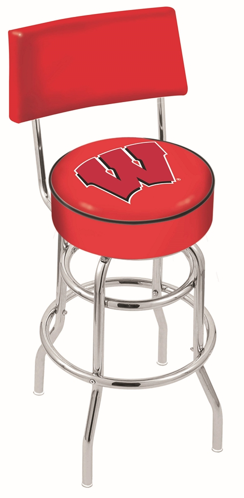 """Wisconsin Badgers (L7C4) 25"""" Tall Logo Bar Stool by Holland Bar Stool Company (with Double Ring Swivel Chrome Base and Chair Seat Back)"""