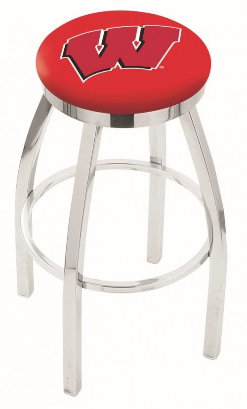"""Wisconsin Badgers (L8C2C) 30"""" Tall Logo Bar Stool by Holland Bar Stool Company (with Single Ring Swivel Chrome Solid Welded Base)"""