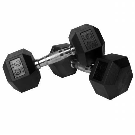 XMark Pair of 25 lb. Rubber Hex Dumbbells XM-3301-25-P