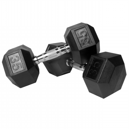 XMark Pair of 35 lb. Rubber Hex Dumbbells XM-3301-35-P