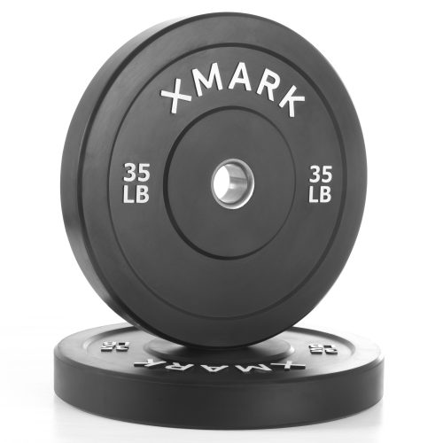 Xmark Fitness XM-3385-35-P 35 lbs. Bumper Plates with Stainless Steel Inserts