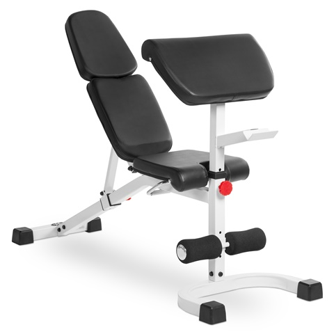 Xmark Fitness XM-4417-White FID Flat Incline Decline Weight Bench with Preacher Curl White