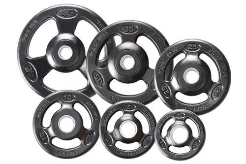 York Barbell 29024 Rubber Encased Steel Composite Olympic Grip Plate- Black - 35 lbs