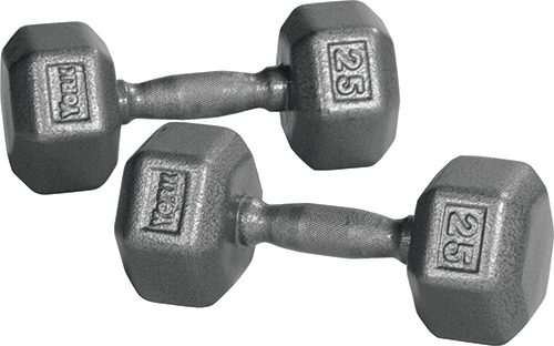 York Barbell 34017 Pro Hex Dumbbell with Cast Ergo Handle Grey - 65 lbs