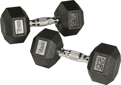 York Barbell 34080 Rubber Hex Dumbbell with Chrome Ergo Handle - 125 lbs