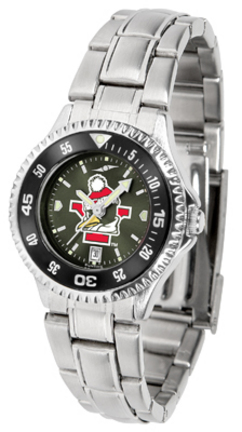 Youngstown State Penguins Competitor AnoChrome Ladies Watch with Steel Band and Colored Bezel