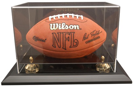 """Zenith"""" Football Display Case with Gold Risers, Black Acrylic and Black Wood Base"""