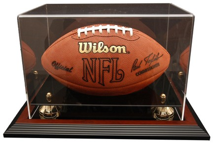 """Zenith"""" Football Display Case with Gold Risers, Black Acrylic and Mahogany Wood Base"""
