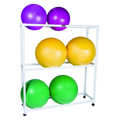 62 x 20 x 72 in. Inflatable Exercise Ball Accessory with PVC Mobile Floor Rack & 3 Shelf