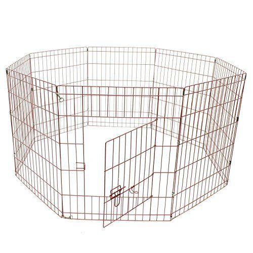 Aleko SDK-30P-UNB 30 in. 8 Panel Dog Playpen Pet Kennel Pen Exercise Cage Fence Pink