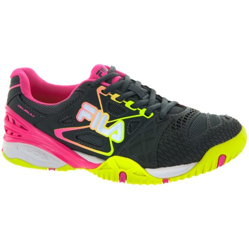 Fila Cage Delirium: Fila Women's Tennis Shoes Dark Shadow/Safety Yellow/Knockout Pink