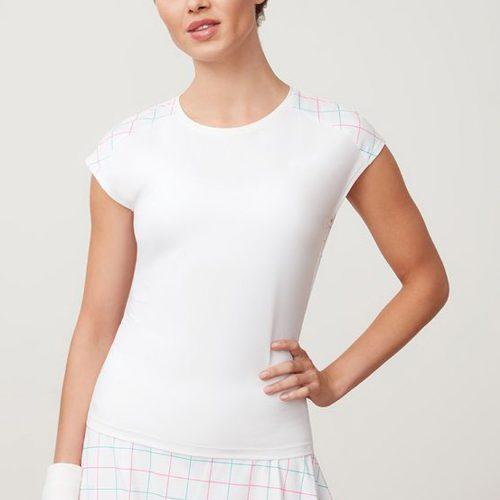Fila Windowpane Cap Sleeve Top: Fila Women's Tennis Apparel