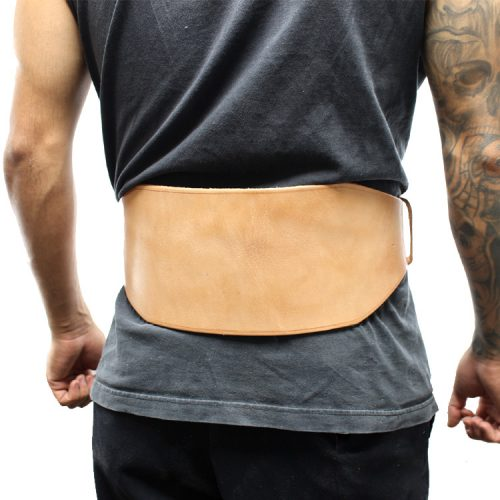 Shelter 248-XXL 6 in. Last Punch New Split Leather Weight Lifting Belt Padded Power Beige - 2XL