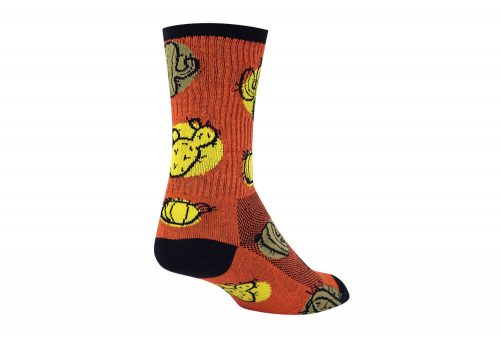 Sock Guy Cacti Crew Socks - orange/yellow/black, l/xl
