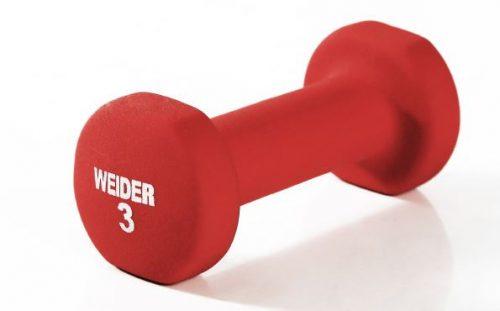 Weider NDCT3-S 3 lbs Neoprene Dumbbell Red