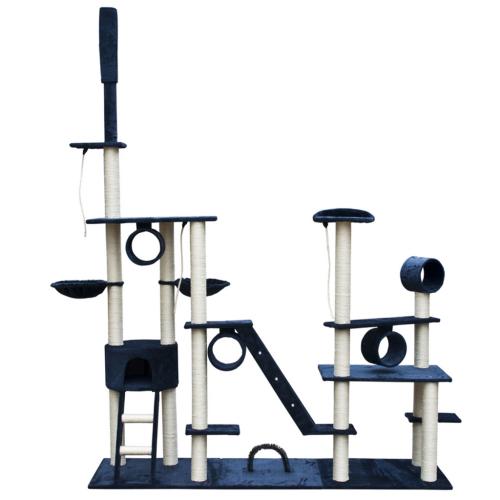 Online Gym Shop CB17639 Cat Tree Deluxe Plush Dark Blue - 90 - 102 in.