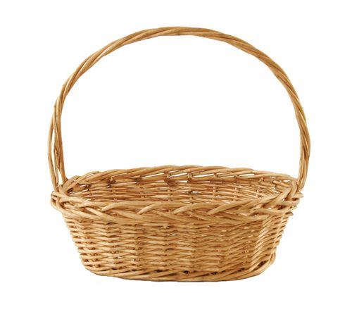 Wald 0626 14.5 Oval Thick Willow Basket. Stained Willow Basket With Handle. Size: 14.5 X 10.5 X 5H 14 Oah.