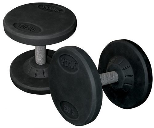 York Barbell 26112 Rubber Pro Style Dumbbell Set of 2 - 65 lbs